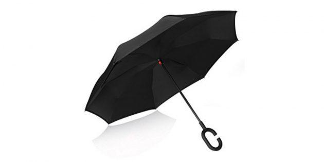 Чёрный зонт с обратной системой открытия
