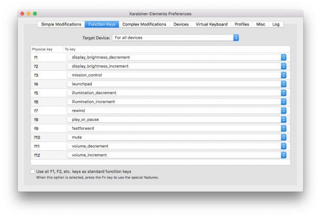 Karabiner-Elements: настройка функциональных клавиш