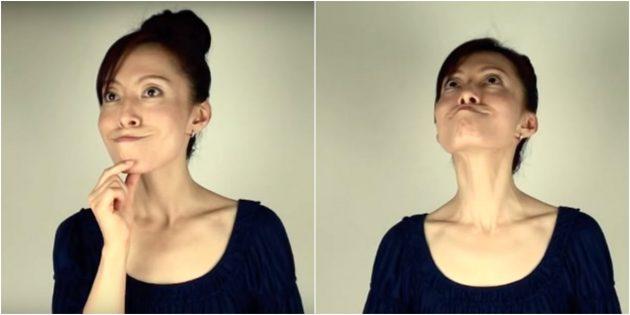 Как убрать щёки: Упражнение с выдвинутым подбородком