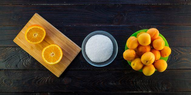 Очень простой рецепт варенья из абрикосов и апельсинов: ингредиенты