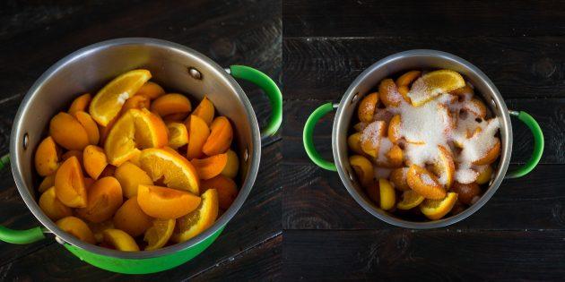 Как приготовить варенье из абрикосов и апельсинов: засыпьте фрукты сахаром