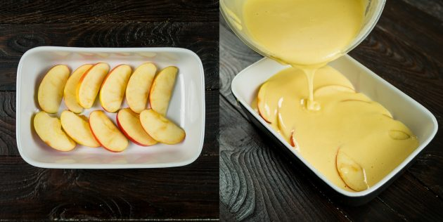 Простая шарлотка: выложите яблоки и залейте их тестом