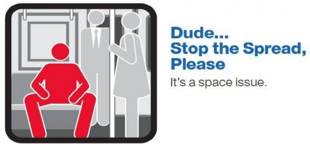 Мэнспрединг: таблички в транспорте