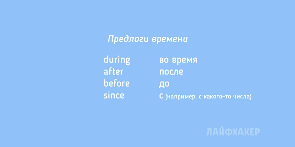английские слова: предлоги времени