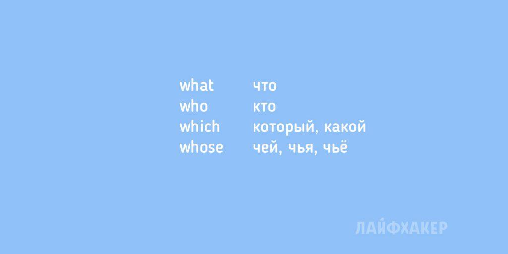 английские слова: вопросительные местоимения