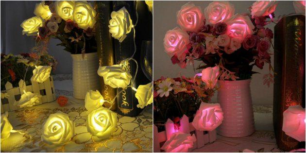 товары для вечеринки: Гирлянда в виде роз