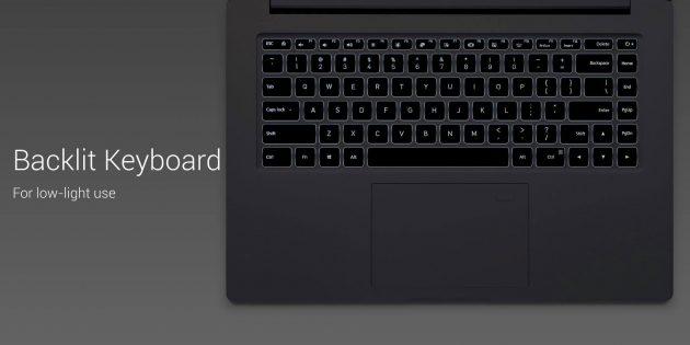 Xiaomi Mi Notebook Pro: клавиатура