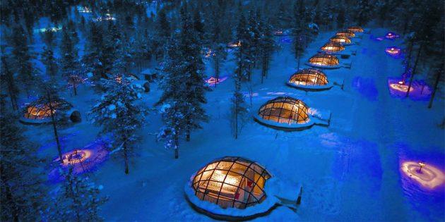 Отель с домиками эскимосов, Финляндия