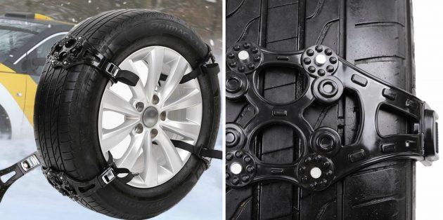 товары для зимы: ремни против скольжения на колёса автомобиля