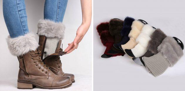 товары для зимы: женские гетры с меховой опушкой