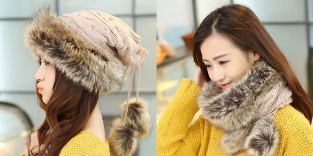 Женская шапка-шарф
