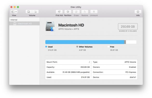 macOS High Sierra: файловая система