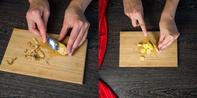 Рецепт глинтвейна: Почистите и нарежьте имбирь
