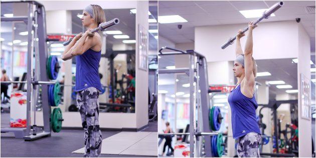 Программа тренировок в тренажёрном зале: Жим штанги от груди стоя