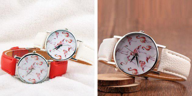 Часы с фламинго