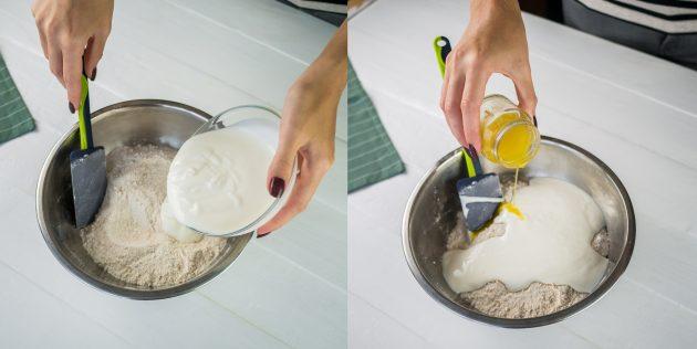 Добавьте йогурт и растопленное сливочное масло