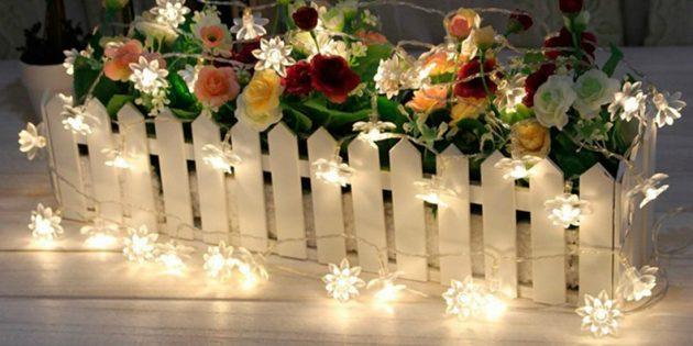 Гирлянда с фонариками-цветками