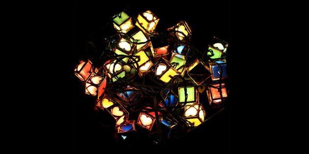Гирлянда с фонариками-кубиками