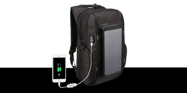 оригинальные подарки на Новый год: Рюкзак с солнечной батареей