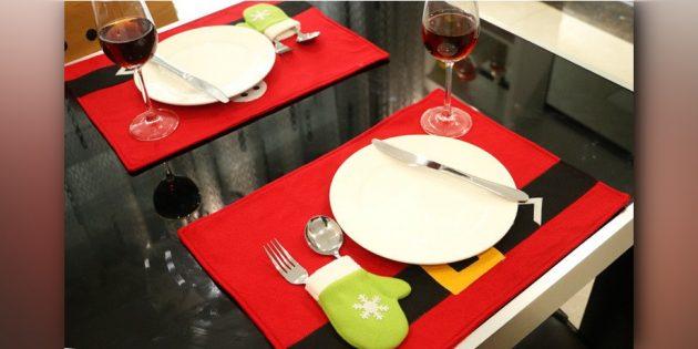 Плейсмат с варежкой-карманом для столовых приборов