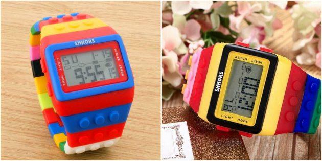 детские часы: электронные часы в стиле LEGO
