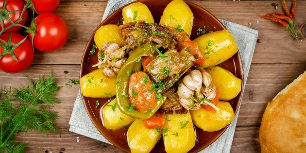 Как приготовить картошку с мясом на плите: Дымляма