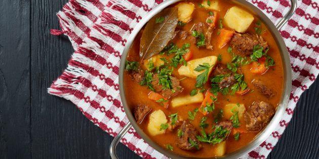 Картошка, тушенная с говядиной