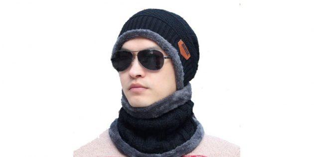 Мужская зимняя шапка с шарфом