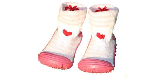 Детские носки с резиновой подошвой