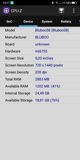 Bluboo S8 cpu 2