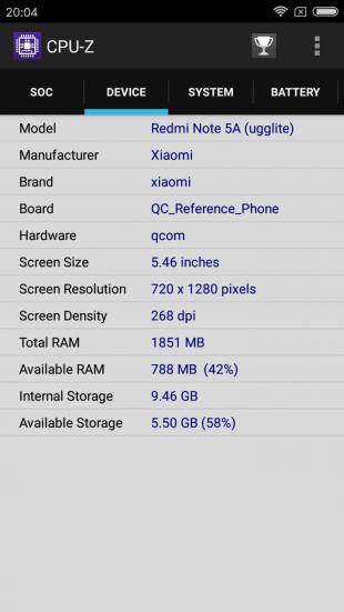 Xiaomi Redmi Note 5a: технические характеристики