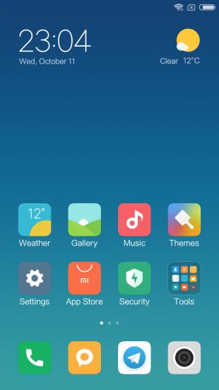 Xiaomi Redmi Note 5a: оболочка