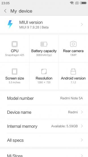 Xiaomi Redmi Note 5a: программное обеспечение