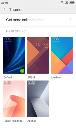 Xiaomi Redmi Note 5a: темы оформления