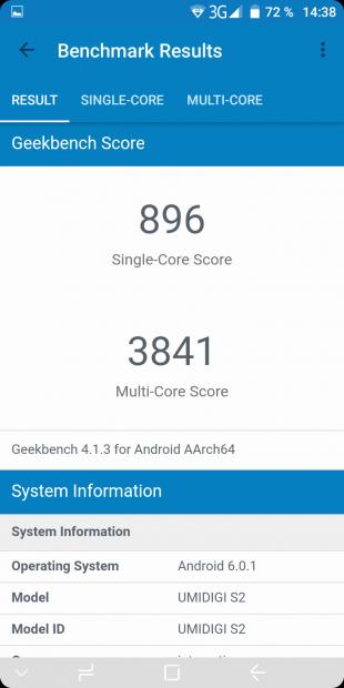 UMIDIGI S2. Тест Geekbench 4