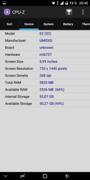 UMIDIGI S2. CPU-Z 2