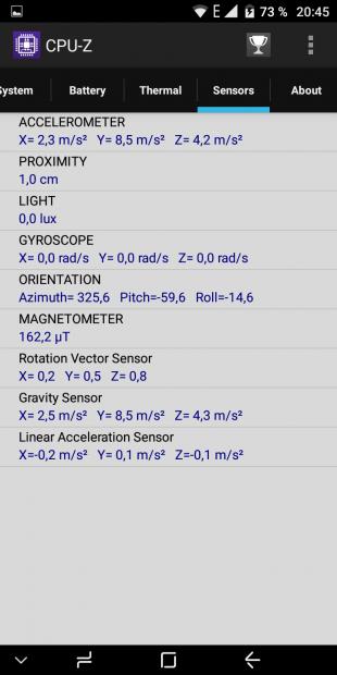 CPU-Z: сенсоры