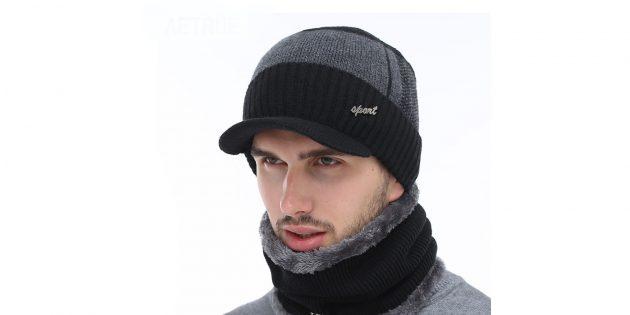 Зимняя шерстяная шапка с шарфом
