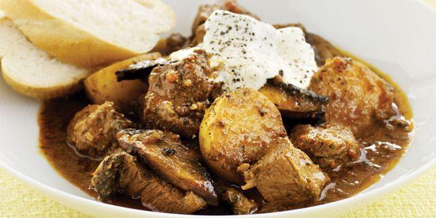 Картошка, тушённая с говядиной