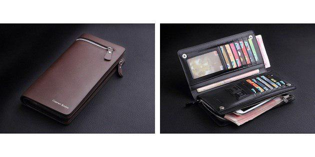 Кожаный бумажник с молнией