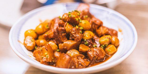 Как приготовить картошку с мясом на плите: Острое китайское рагу со свининой и картофелем