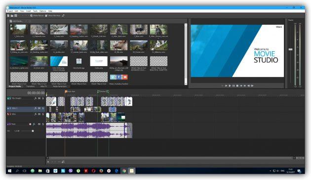 Programs for video editing: VEGAS Movie Studio