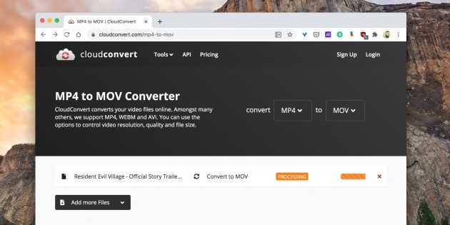 Бесплатные конвертеры видео: Cloudconvert