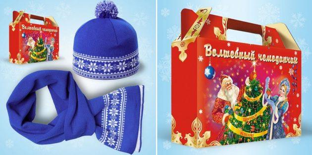 подарки на Новый год: шапка и шарф