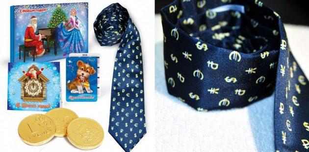 подарки на Новый год: набор с галстуком