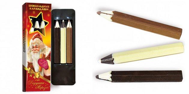 подарки на Новый год: шоколадные карандаши