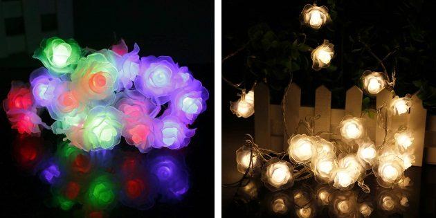 новогодние гирлянды: гирлянда с цветами