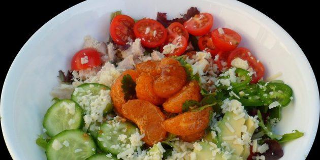 диетические салаты: салат с курицей и мандаринами
