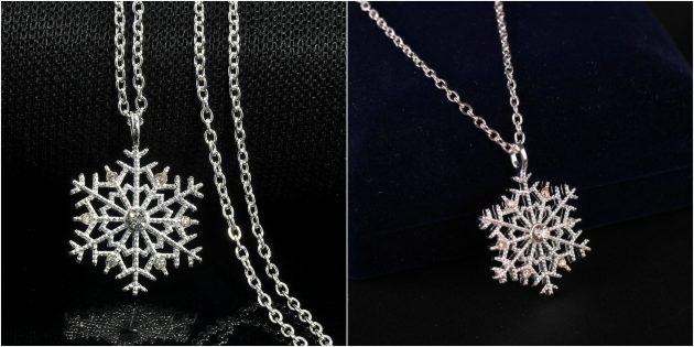 Новогодние подарки с AliExpress дешевле 100 рублей: Подвеска «Снежинка»