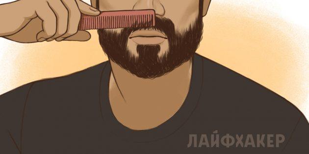 Расчешите усы от носа вниз